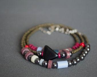 Wrap bracelet Multistrand bracelet Layered bracelet Boho Indie Rustic bracelet Beaded bracelet Hematite bracelet Red Brown Black Bronze