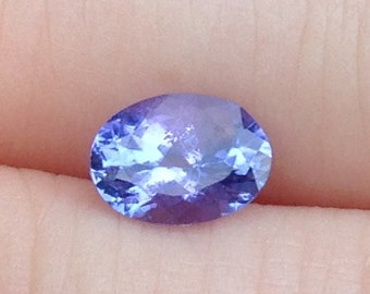 1 Carat Tanzanite Solitaire 5.25x7.25mm Natural Gemstone with Video