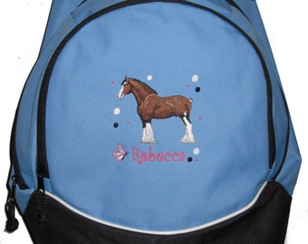FREE SHIPPING - Clydesdale Horse   Personalized Monogrammed Backpack Book Bag school tote  - NEW