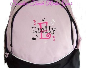 FREE SHIPPING - Music Notes  Personalized Monogrammed Backpack Book Bag school tote  - NEW
