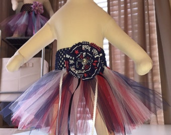 New England Patriots Navy Blue, Red And White Baby Girl Tutu With Patriots Hair Bow
