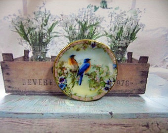 Lovely Birds Miniature Plate 1:12 scale for Dollhouse