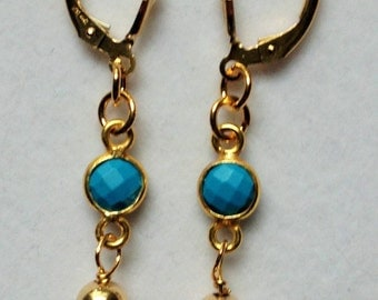 Turquoise Gold Leverback Earring