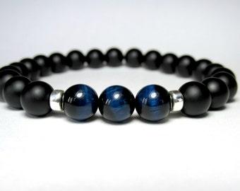 Blue Tiger Eye Bracelet, Matte Onyx Bracelet, Mens Beaded Bracelet, Stretch Bracelet, Mala Bracelet, Yoga Bracelet, Bracelet for Men