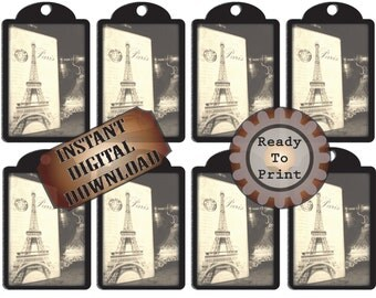Paris Eiffel Tower Chalkboard Hang Tags ~ Printable Collage Sheet