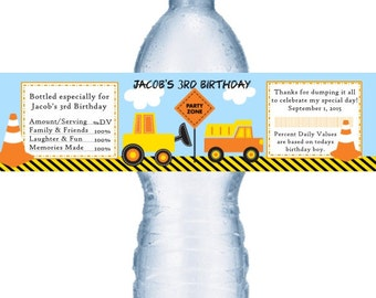 49 Construction Birthday Party Water Label Favors
