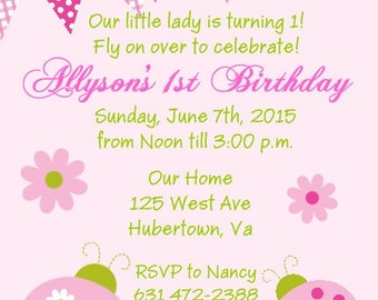 20 Pink Ladybug Birthday Party Invitations Envelopes Included