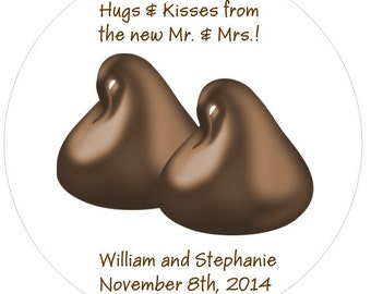 40 Hugs and Kisses Wedding Stickers