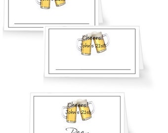 12 Beer Party Place Cards