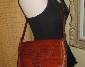 Vintage Valerie Stevens Faux Alligator Shoulder Bag Purse