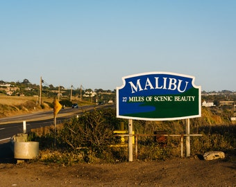 Malibu Sign, along Pacific Coast Highway, in Malibu, California - Photography Fine Art Print or Wrapped Canvas