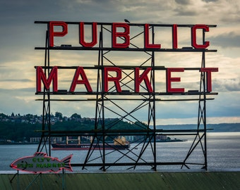 The Public Market sign at Pike Place Market, in Seattle, Washington - Photography Fine Art Print or Wrapped Canvas