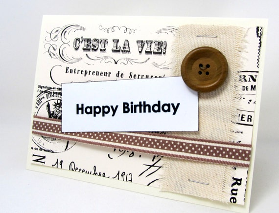 Birthday Card - Happy Birthday - Paris - Ivory and Black - French Script - Blank Card - Canvas Accent - Neutral Colors