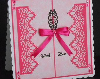 Cerise and Pale Pink Lacy Abstract 8 x 8 Card