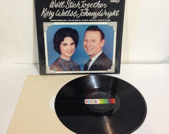Kitty Wells & Johnny Wright We'll Stick Together Vintage Vinyl Record Album LP 1968 Decca Records DL 75026 Stereo