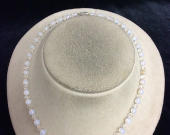Vintage Graduated Moon/Clear Glass Beaded Necklace