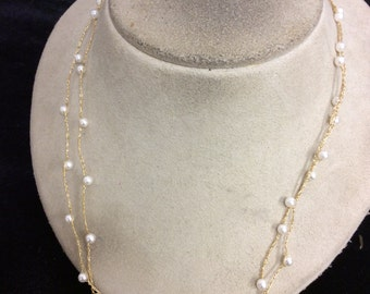 Vintage Long 24K Gold Plated Faux Pearl Necklace