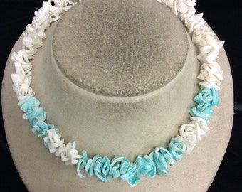 Vintage Chunky Blue & White Shell Necklace