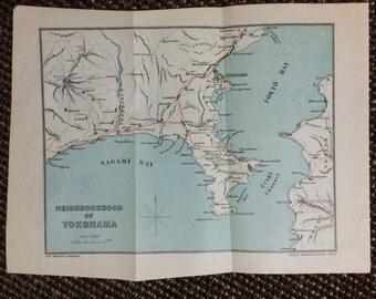 Antique Yokohama Map Etsy - Japan map 9
