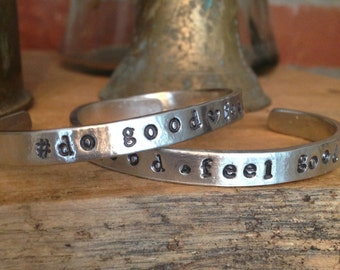 Hand Stamped Pewter Cuff - Customized
