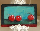 Old Book Cover Painting - Cherries, Rustic Art, Original Art, Acrylic Painting, Folk Art