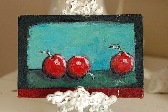 Old Book Cover Painting - Cherries, Rustic Art, Original Art, Acrylic Painting, Folk Art