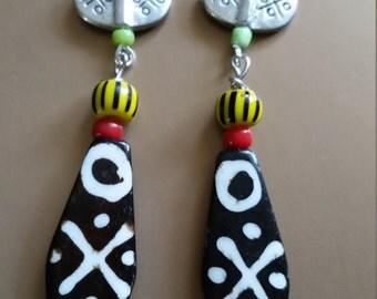 Silver Mud bone bead earrings