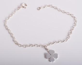 Lucky four leaf clover ankle bracelet sterling silver 925 charm chain ankle bracelet anklet