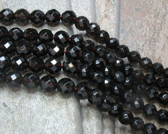 8 mm Faceted Smoky Quartz Beads, full strand - Item B0063