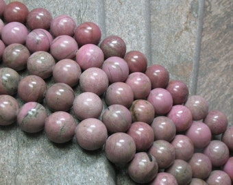 Rhodonite Beads - 12 mm - Full strand - Item B0086