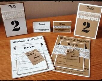 "Rustic wedding place cards ""Melanie"""