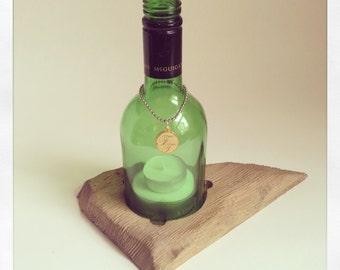 Wine Bottle Storm Lantern - (Rustic Base)