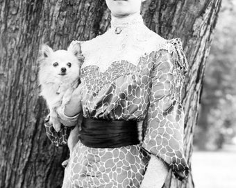 Alice Roosevelt with her dog, Leo, a long-haired Chihuahua- Art Print