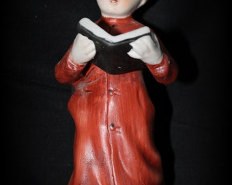 Vintage 1950's Dan Brechner, Royal Coronet MONK Clergy RELIGIOUS FIGURINE Statue, Boy with bible in Red