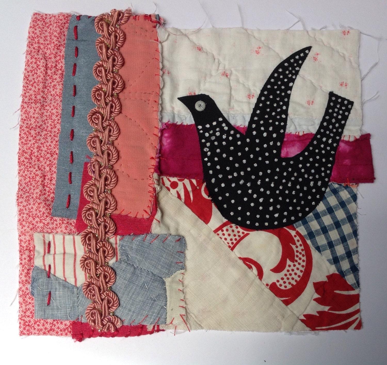 bird textile fibre fiber wall art collage original appliqu. Black Bedroom Furniture Sets. Home Design Ideas