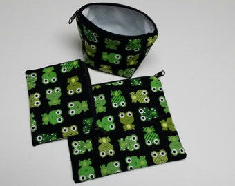 Reusable Sandwich Bag Set, Frogs,  Gadget Bags, Make-Up Bags, Nylon Lining, Snack Bags, Washable, Charger Bags, Baggies,Zipper Closure.