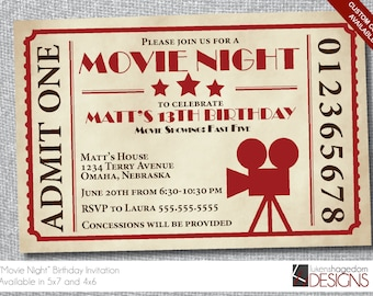 Movie Ticket- Any Special Occasion - Custom Colors - Digital File