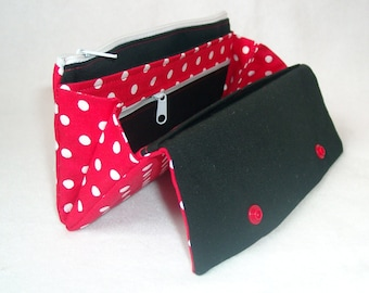 Purse red dots / uni Black Mini or XL