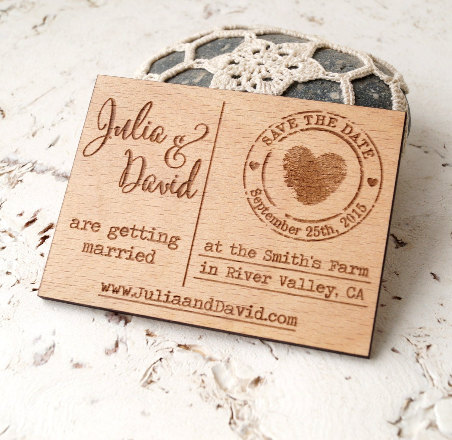 Wooden save the date magnets