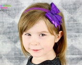 Purple Sequin Bow Clip Headband Large Shiny Bling Girls Toddlers Infants 3 inch Sparkle