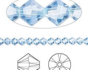 4mm Light Sapphire Swarovski Bicone Crystals - Light Sapphire - Pack of 96