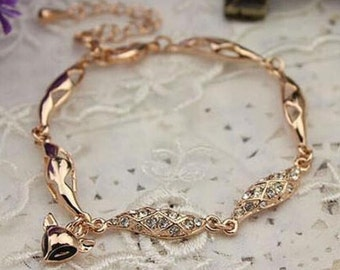 Gold Fox Crystal Chain Bracelet
