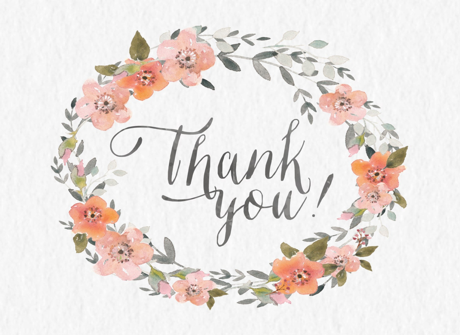 Watercolor floral thank you modern calligraphy