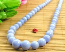 15 inches of  Blue lace agate smooth round tower necklace,DIY handmade wholesale beads in 6-12mm