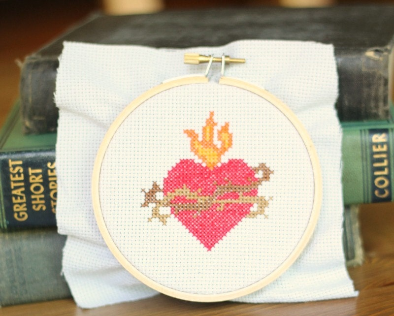 Sacred Heart Of Jesus Cross Stitch Pattern // Catholic Cross Stitch Template From ...