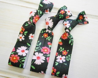 Black Daisy Floral - Set of 3 Black Floral Hair Ties by Crimson Rose Cottage/Boho Elastic Hair Tie/Boho Soft Bracelet/Floral Hair Ties