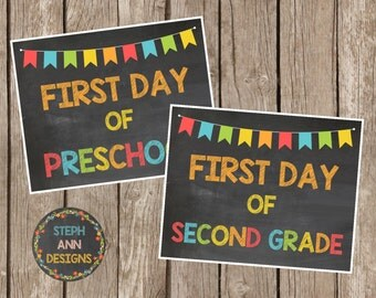 Printable First Day of School Signs-Printable Chalkboard Signs-Preschool-Grade 12-8x10 Printables