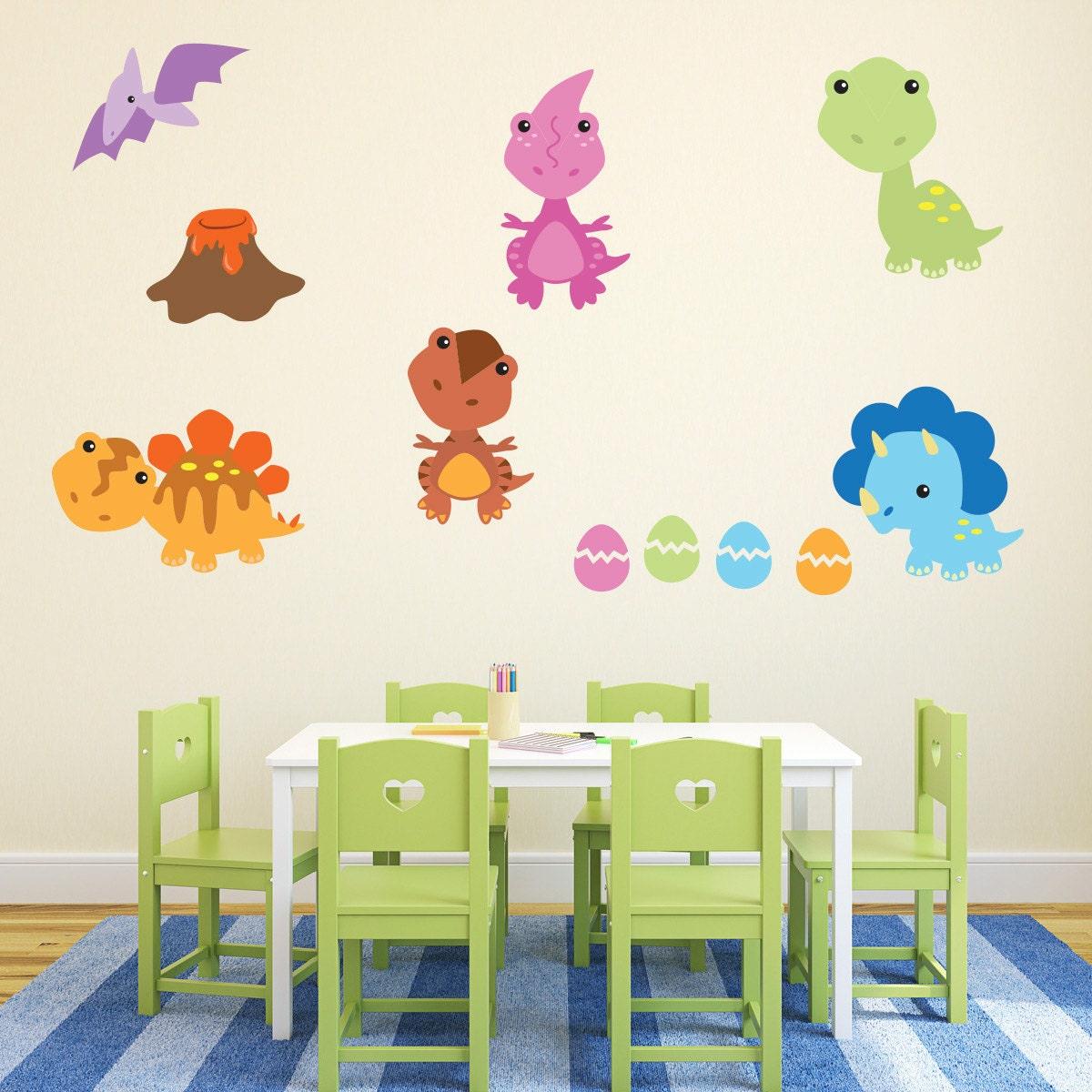 Baby Dinosaur Wall Stickers, Boys Dinosaur Wall Decals, Nursery Wall ...