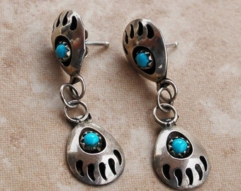 Native American Turquoise and silver earrings