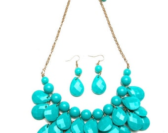 Turquoise Pearl/Faceted Teardrop Chain Necklace & Earring Set